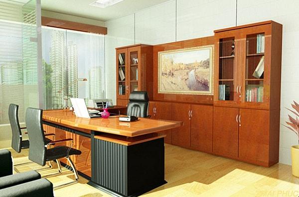 Gỗ tự nhiên được dùng để làm các nội thất văn phòng như bàn làm việc hay tủ tài liệu, thường là loại gỗ dẻo